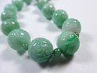 Chinese Carved Jade Bead Necklace