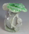 Chinese Jadeite Monkeys with Peach and Lotus Leaf