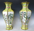 Pair of Chinese Enamel Vases with Scenes of Nature