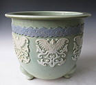 Chinese Antique Celadon Planter with Butterflies