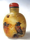 Chinese Carved Agate Snuff Bottle with Seated Scholar