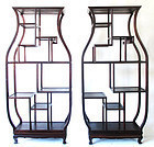 Pair Chinese Large Vase Shaped Display Shelves