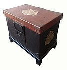 Antique Japanese Lacquer Chest w/ Mother of Pearl Inlay