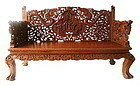 Chinese Hardwood Bench with Highly Intricate Carvings