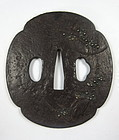 Antique Japanese Iron Tsuba with Gold and Silver Inlay