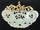 Chinese Carved Jadeite Pendant with 14K Gold