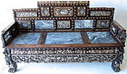 Antique Chinese Hardwood Inlaid Mother of Pearl Bench