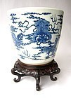 Chinese Large Porcelain Blue and White Jar and Stand