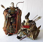 Antique Japanese Pair of Samurai Dolls