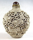 Antique Chinese Carved Bisque Snuff Bottle
