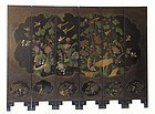 Antique Chinese Black Lacquer Hardstone Inlaid Screen