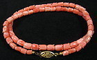 Chinese Carved Tulip Coral Bead Necklace