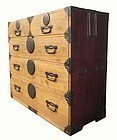 Antique Japanese Kiri Tansu with Lacquered Sides