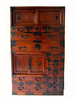 Antique Japanese Unusual Hinoke Wood Tansu