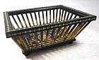 Unusual Inlaid Antique Hardwood Basket with Porcupine Quills