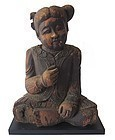 Antique Thai Wooden Carving of Small Girl