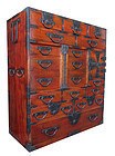 Japanese Rare Keyaki Choba Tansu with 15 Drawers and Locking Bar