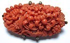 Antique Japanese Coral Carved Brooch