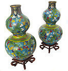 Chinese Pair of Cloisonne Vases on Stands
