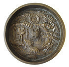 Antique Japanese Bronze Mirror with Turtle and Cranes
