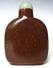 Antique Chinese Goldstone  Peking Glass Snuff Bottle