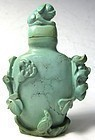Antique Chinese Turquoise Carved Snuff Bottle
