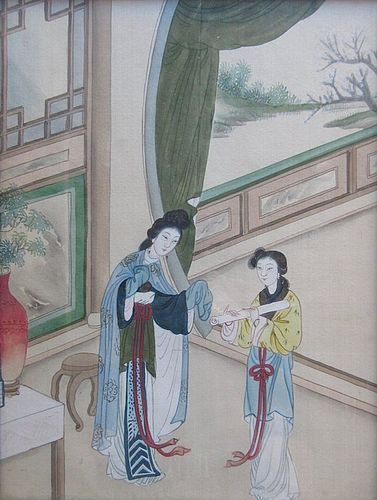 Antique Chinese Framed Silk Painting Item 1342515