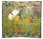 Japanese Screen Painting of Woman in Flower Garden