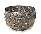 Indian Silver Repouse Bowl with Aspects of Shiva