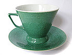 Chinese Antique Green Teacup and Saucer