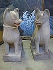 Japanese Antique Stone Foxes Inari Kitsune
