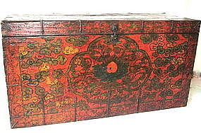 AntiqueTibetan Painted Trunk