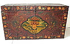 Antique Tibetan Leather Painted Trunk with Garuda