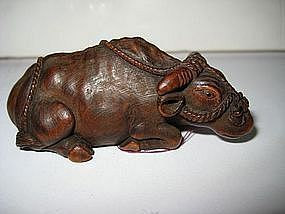 Japanese Antique Boxwood Ox Netsuke