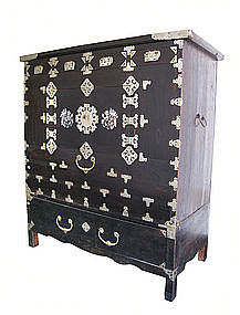 Korean Antique Head Side Chest With Inlay Item 883105