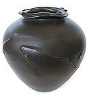 Japanese Bronze Vase with Koi, Signed Kano