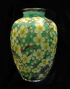 Japanese Plique a Jour Vase with Plum Blossoms