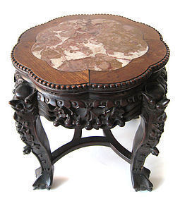 Chinese Antique Carved Low Table With Marble Top Item