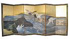 Japanese Antique Screen Painting of Cranes and Waves
